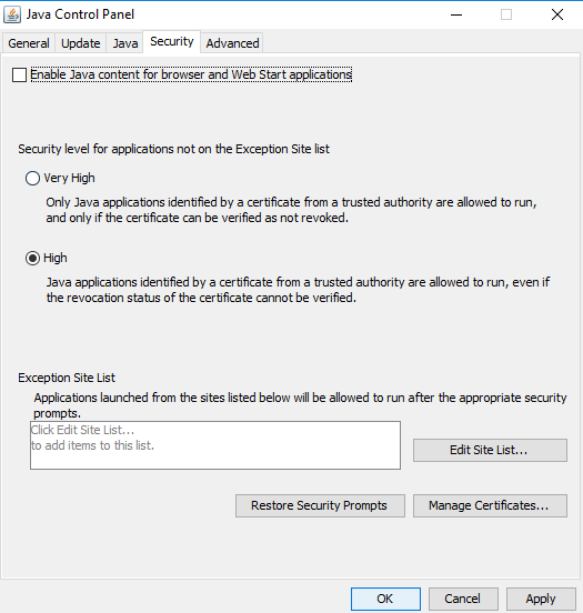 disable Java in the web browser