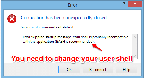 A connection has been unexpectedly closed WinSCP in Checkpoint