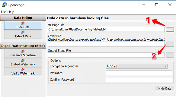 How to Hide important data in a photograph with OpenStego
