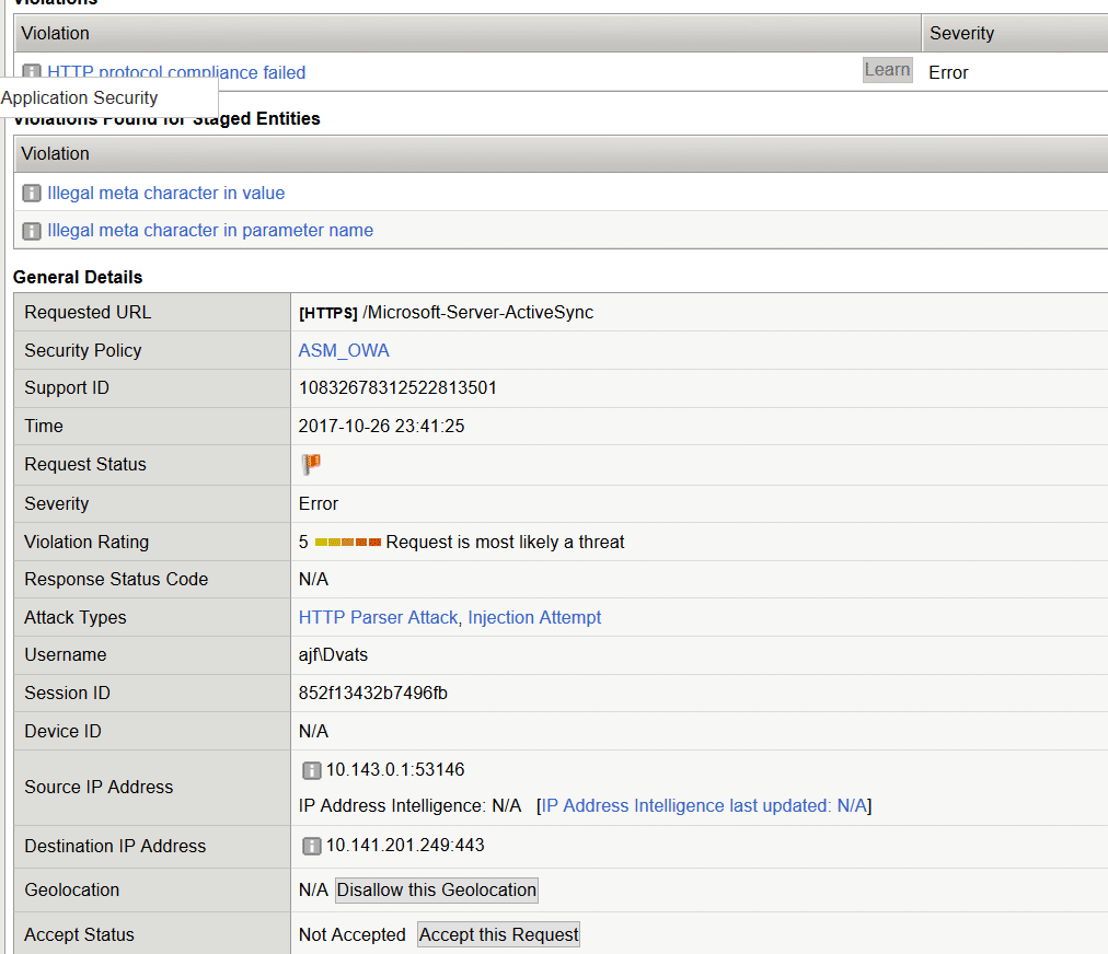 Bypassing the BIG-IP ASM system for RPC and ActiveSync connections