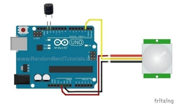 Drive PIR Motion sensor With Arduino UNO and Buzzer
