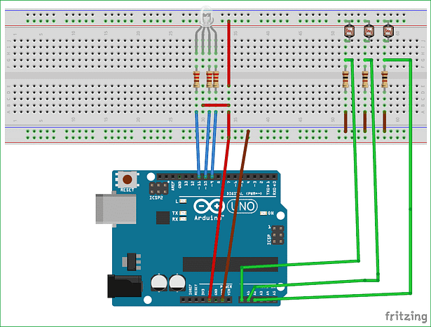 Build Color Combination LED system using LDR